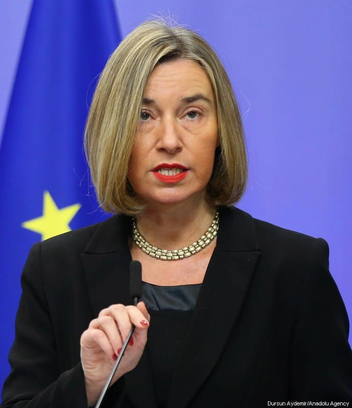 High Representative of the European Union (EU) for Foreign Affairs and Security Policy and Vice-President of the European Council Federica Mogherini seen during a press conference at the European Council headquarters within the EU Foreign Affairs Council in Brussels, Belgium on December 11, 2017 [Dursun Aydemir / Anadolu Agency]