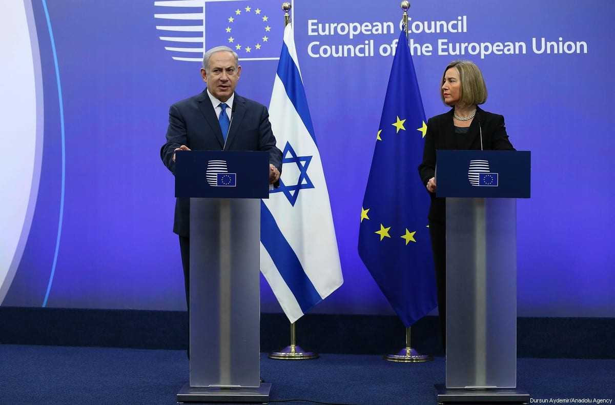 Israeli Prime Minister Benjamin Netanyahu (L) holds a joint press conference with High Representative of the European Union (EU) for Foreign Affairs and Security Policy and Vice-President of the European Council Federica Mogherini (R) at the European Council headquarters within the EU Foreign Affairs Council in Brussels, Belgium on 11 December 2017. [Dursun Aydemir/Anadolu Agency]