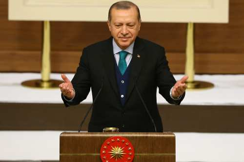 Turkish President Recep Tayyip Erdogan makes a speech during Turkish Academy of Science, TUBA, awards at Presidential complex in Ankara, Turkey on 12 December, 2017 [Halil Sağırkaya - Anadolu Agency]