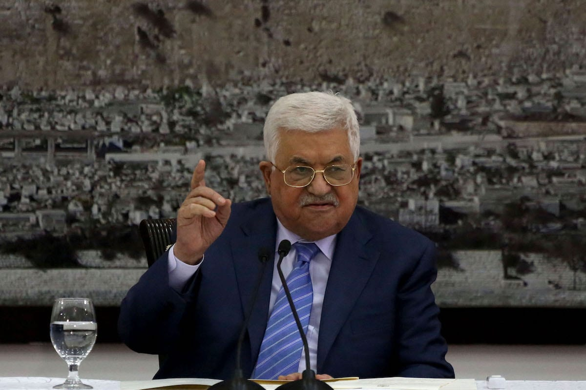 Palestinian President Mahmoud Abbas delivers during his meeting with Palestinian senior leaders at the Presidency building in Ramallah, West Bank on 18 December, 2017 [Issam RimawiAnadolu Agency]
