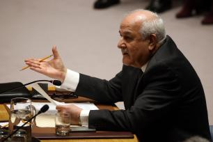 ermanent Observer for the State of Palestine to the United Nations Riyad Mansour addresses the UN Security Council New York, US on 18 December 2017 [Mohammed Elshamy/Anadolu Agency]