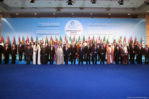 Turkish President Recep Tayyip Erdogan (C) poses with participants for a family photo within the extraordinary summit of the Organization of Islamic Cooperation (OIC) in Istanbul, Turkey on 13 December, 2017 [Kayhan Özer/Anadolu Agency]