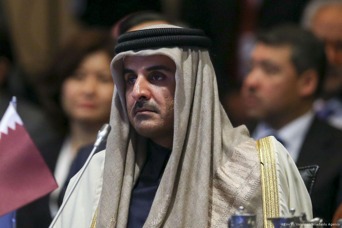 Emir of Qatar Sheikh Tamim bin Hamad Al Thani in Istanbul, Turkey on 13 December 2017 [Emrah Yorulmaz/Anadolu Agency]