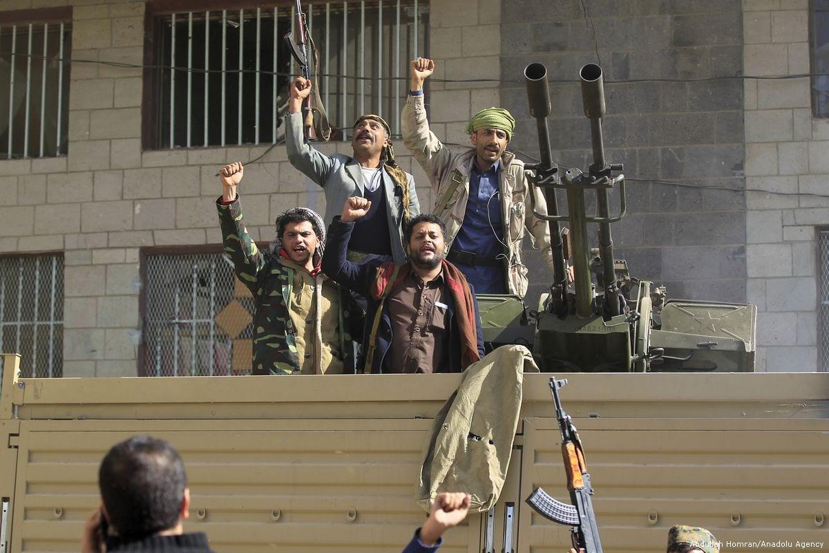 Houthis capture military vehicles in Sanaa, Yemen on 4 December 2017 [Abdullah Homran/Anadolu Agency]
