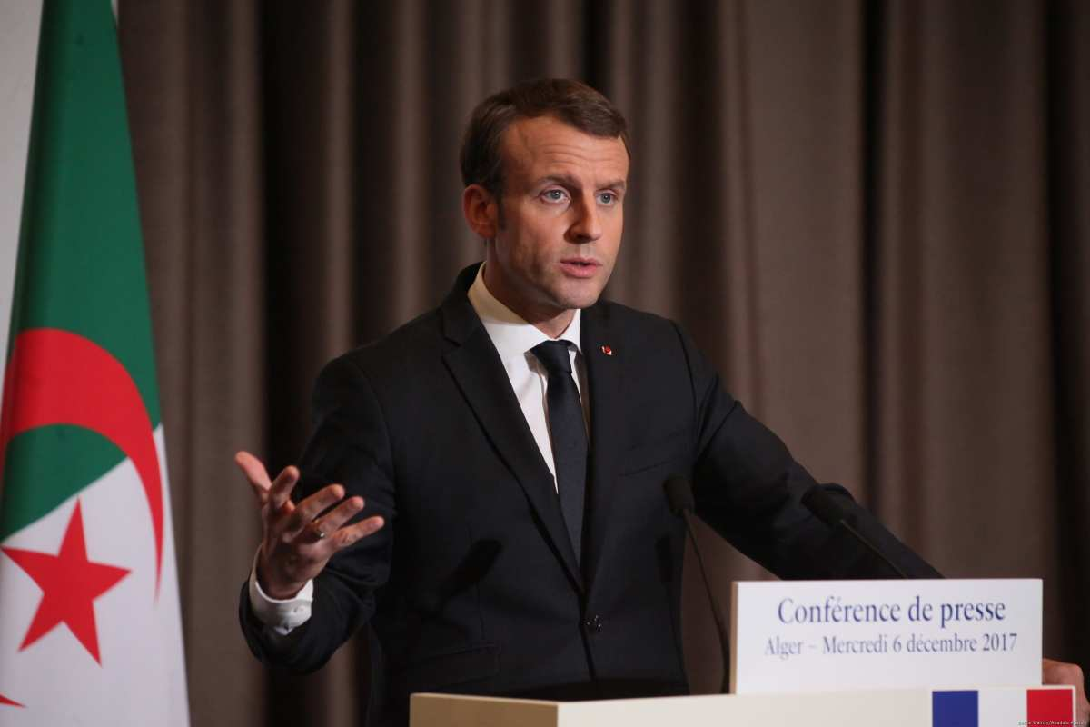French President Emmanuel Macron during a press conference in Algiers, Algeria on 6 December, 2017 [Bechir Ramzy/Anadolu Agency]