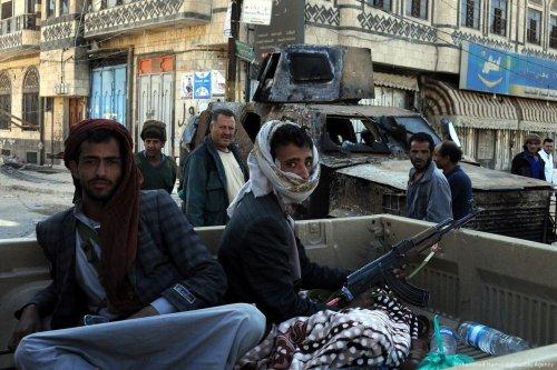 Houthis patrol Sanaa, Yemen on 5 December 2017 [Mohammed Hamoud/Anadolu Agency]
