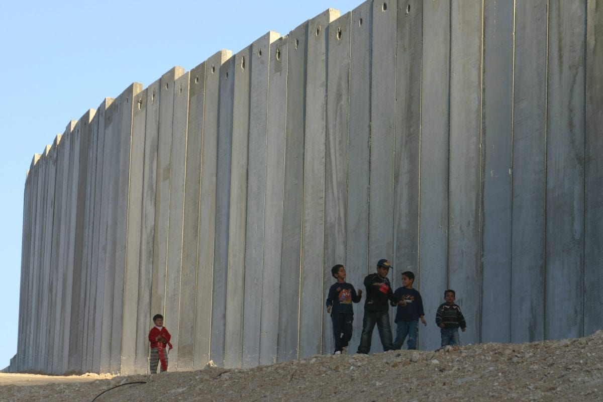 Palestinian-children-playing-near-a-high