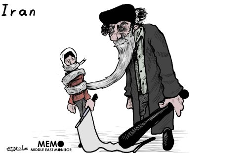 Iran protests in January 2018 - Cartoon [Sabaaneh/MiddleEastMonitor]