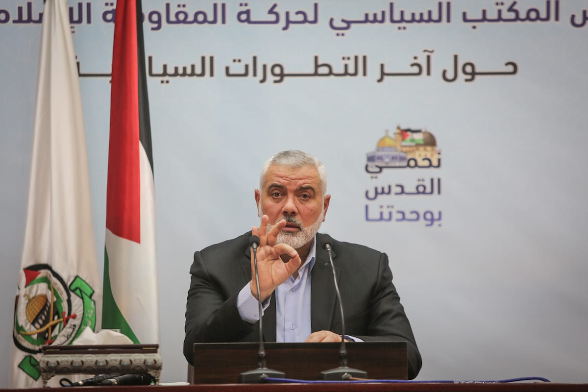 Head of the Political Bureau of Hamas, Ismail Haniyeh delivers a speech during a press conference in Gaza City, Gaza on 23 January 2017 [Ali Jadallah/Anadolu Agency]