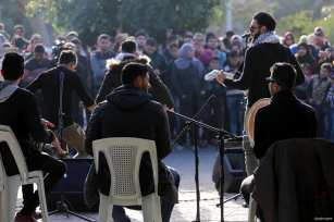 GAZA CITY, GAZA- Palestinian musical band, DawaWin, performing a concert in support of Jerusalem