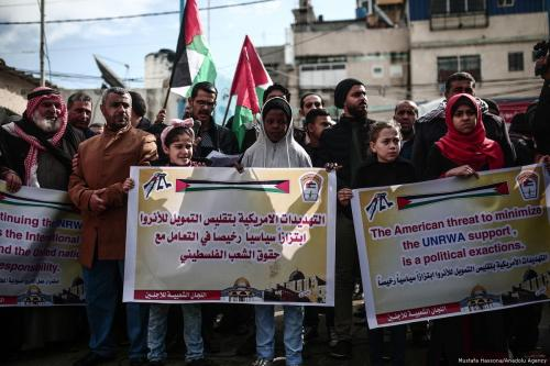 Palestinian families protest US food aid cuts in Gaza