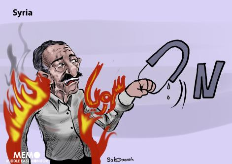 Syria refugee burns himself in protest against United Nations aid cuts - Cartoon [Sabaaneh/MiddleEastMonitor]