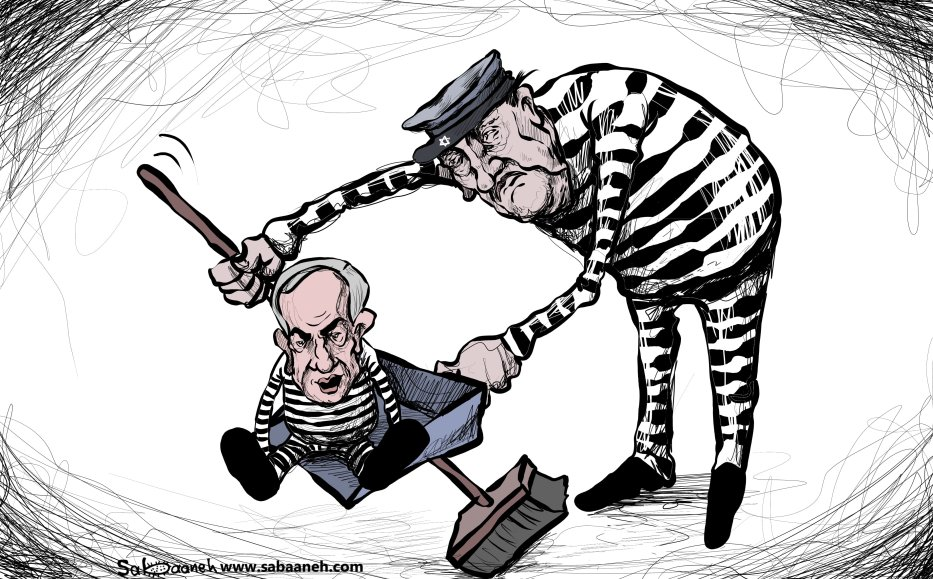 Netanyahu's corruption scandal - Cartoon [Sabaaneh/MiddleEastMonitor]