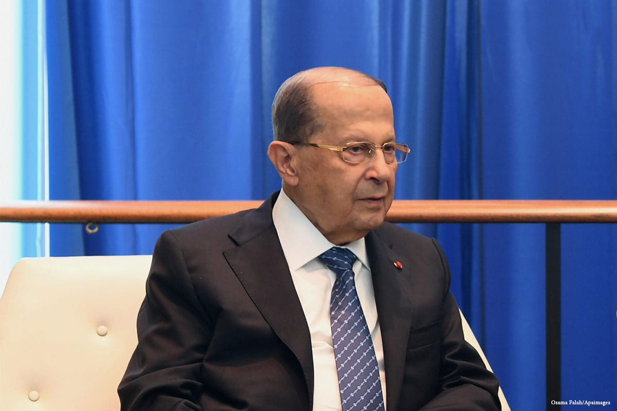 President of Lebanon Michel Aoun [Mohamemd Asad/Middle East Monitor]