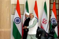 Indian Prime Minister Narendra Modi (R) meets with Iranian President Hassan Rouhani (L) in New Delhi, India on February 17, 2018 [Iranian Presidency / Handout / Anadolu Agency]