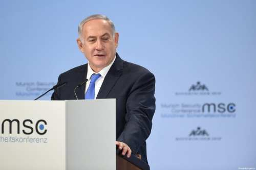 Israeli Prime Minister Benjamin Netanyahu speaks during the 54th Munich Security Conference (MSC) at Hotel Bayerischer Hof in Munich, Germany on February 18, 2018 [Andreas Gerbert / Anadolu Agency]