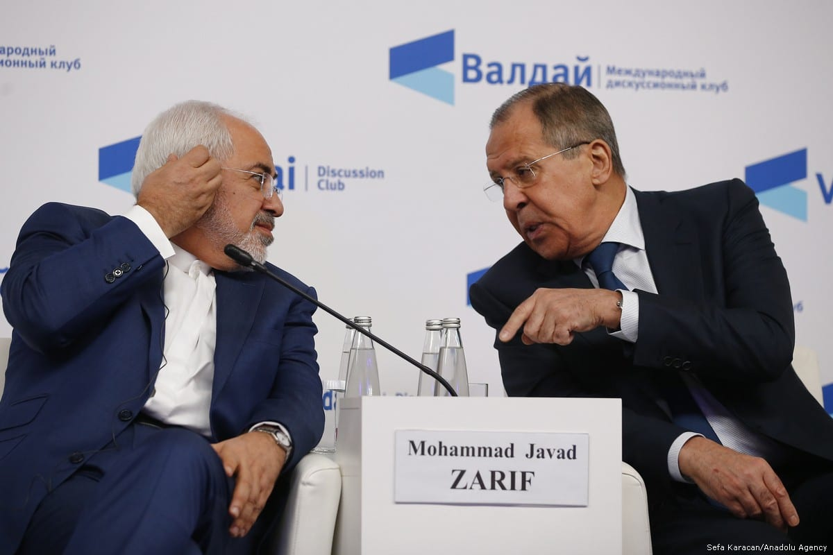 Russian Foreign Minister Sergey Lavrov (R) and Iranian Foreign Minister Javad Zarif (L) are seen during the Valdai Discussion Club titled ''Russia in the Middle East: Playing on All Fields'' in Moscow, Russia on 19 February, 2018 [Sefa Karacan/ Anadolu Agency]