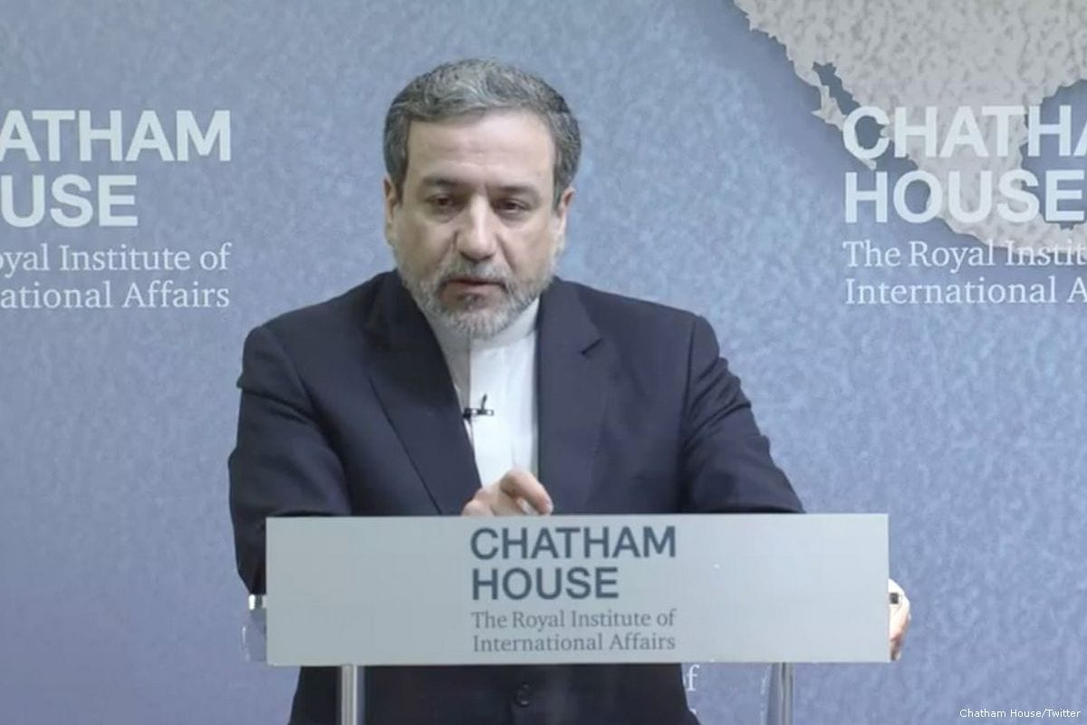 Iranian deputy foreign minister Abbas Araghchi at Chatham House in London, UK, 28 February 2018 [Chatham House/Twitter]