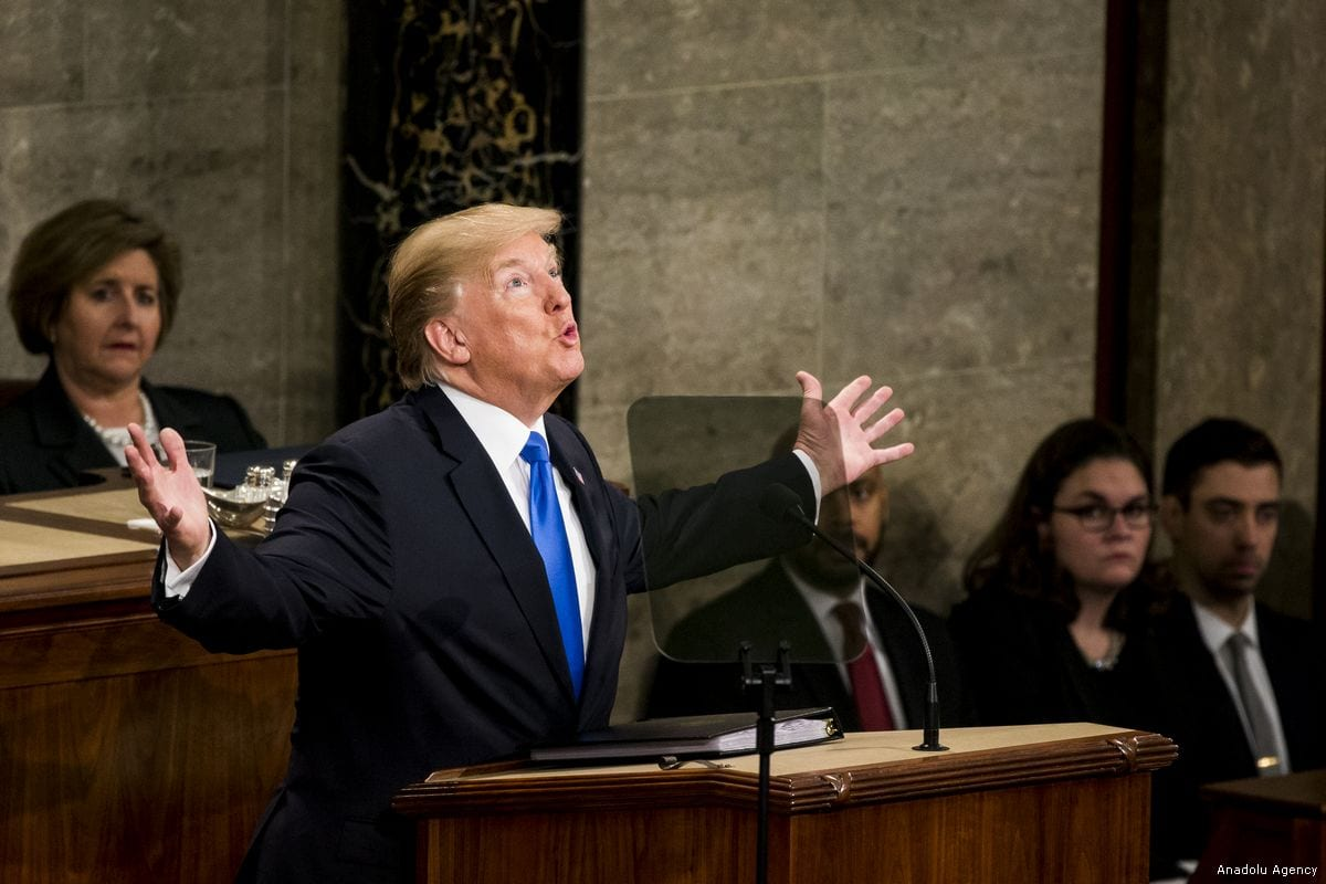 President Donald Trump gives his first State of the Union address to Congress and the country in Washington, United States on January 30, 2018. ( Samuel Corum - Anadolu Agency )