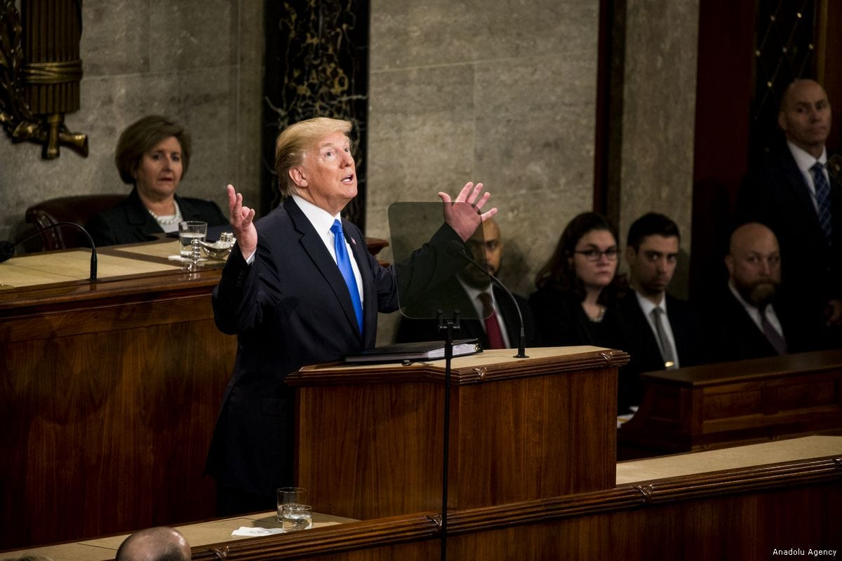 President Donald Trump gives his first State of the Union address to Congress and the country in Washington, United States on 30 January 2018 [Samuel Corum/Anadolu Agency]