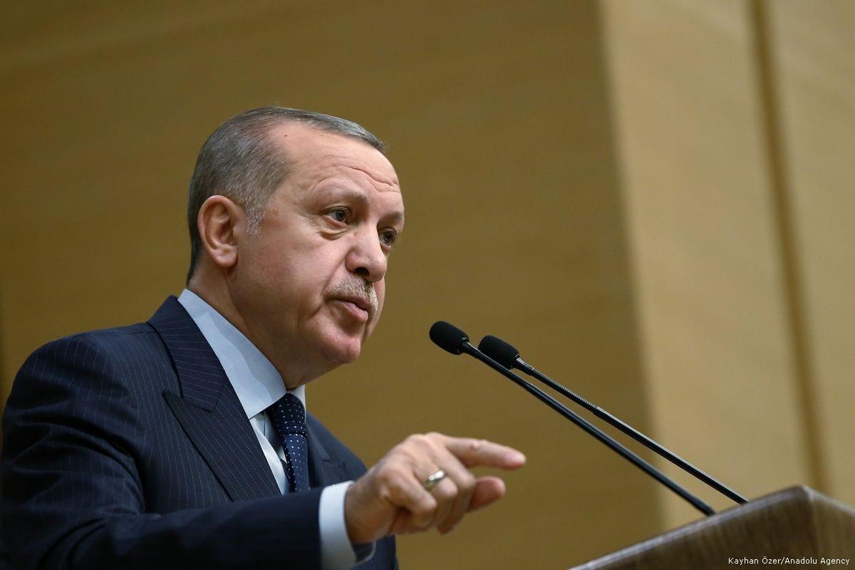 President of Turkey Recep Tayyip Erdogan delivers a speech in Ankara, Turkey on 8 February 2018 [Kayhan Özer/Anadolu Agency]