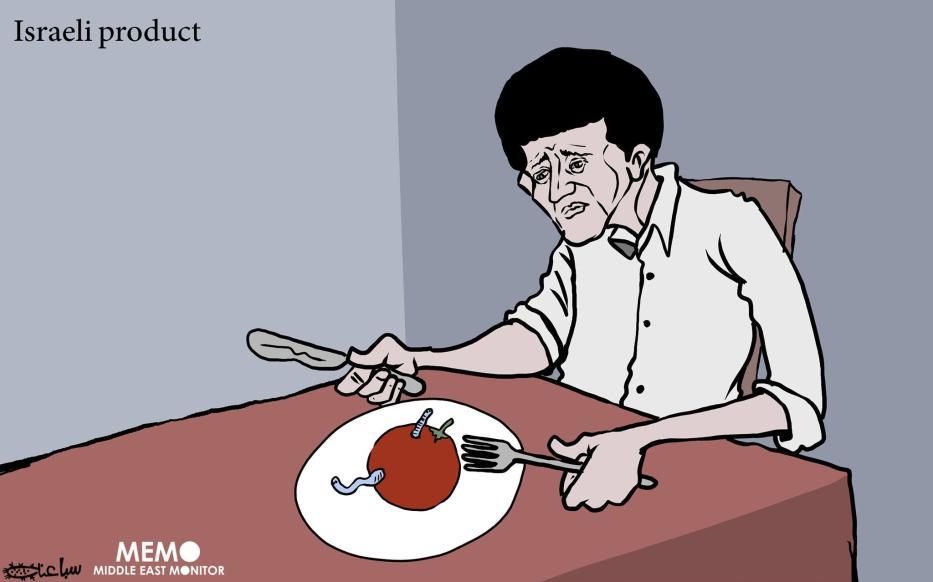 90% of rotten goods in WestBank made in Israel - Cartoon [Sabaaneh/MiddleEastMonitor]