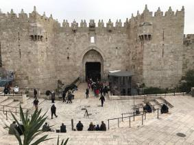 The newly constructed watchtower checkpoint at the Damascus Gate entrance to the Old City, Jerusalem seen on February 14, 2018 [Twitter / MohamdNashwan]