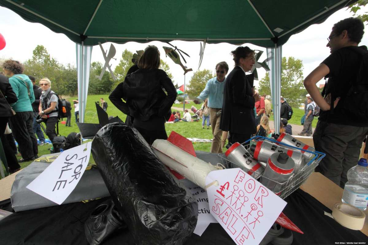 Protestors seen outside the ExCel Centre in London, UK, in the week leading up to the DSEI Arms Fair 2015, attempting to disrupt supplies and equipment entering the convention centre. Image taken on September 8, 2015 [Rich Wiles / Middle East Monitor]