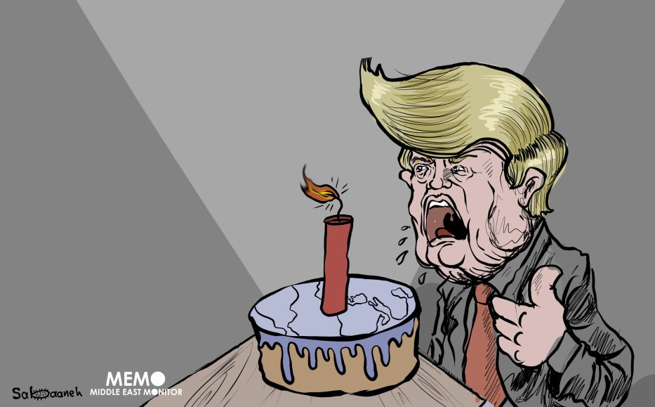 2017 was a year of chaos and instability under the Donald J. Trump doctrine - Cartoon [Sabaaneh/MiddleEastMonitor]