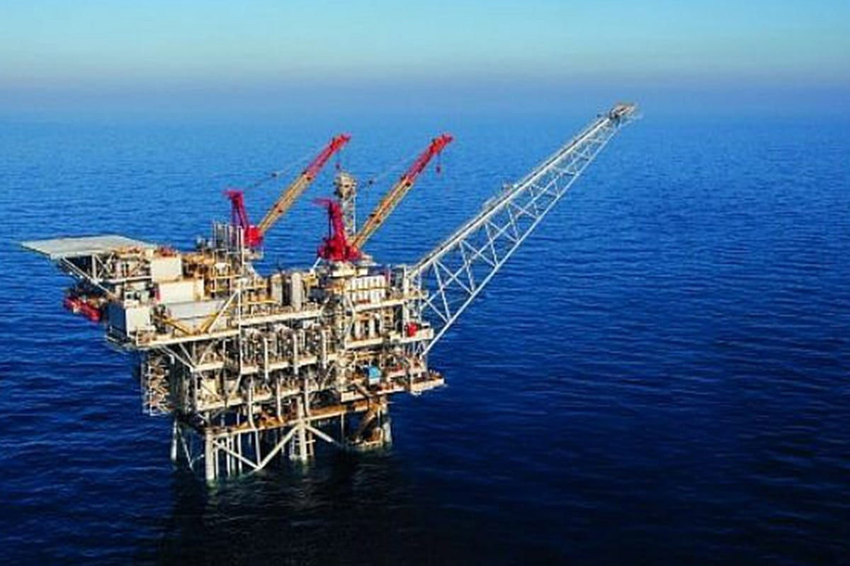 An aerial view of an Israeli offshore gas rig [Albatross Aerial photography/Noble Energy]
