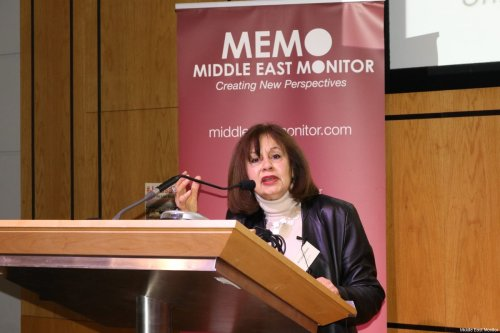 Dr Ghada Karmi seen at Middle East Monitor's 'Jerusalem: Legalising the Occupation' conference in London, UK on 3 March, 2018 [Jehan Alfarra/Middle East Monitor]