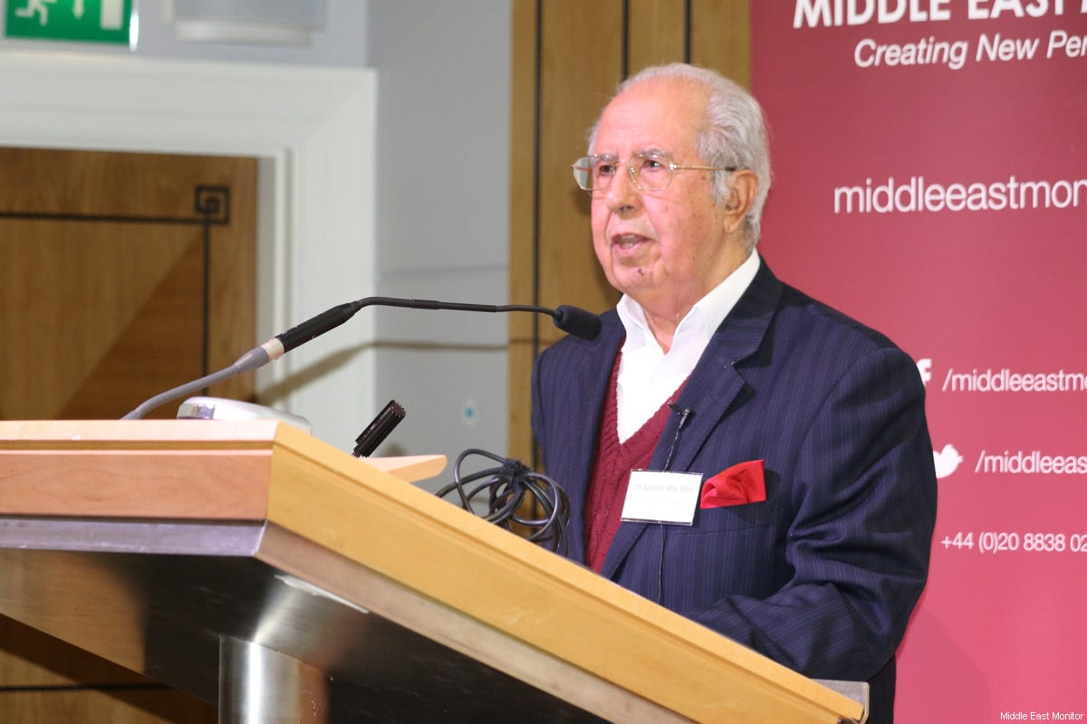 Dr Salman Abu Sitta seen at Middle East Monitor's 'Jerusalem: Legalising the Occupation' conference in London, UK on 3 March, 2018 [Jehan Alfarra/Middle East Monitor]