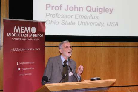 Prof John Quigley seen at Middle East Monitor's 'Jerusalem: Legalising the Occupation' conference in London, UK on 3 March, 2018 [Jehan Alfarra/Middle East Monitor]