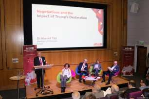 Dr Ahmad Tibi, Daniel Levy, Nadia Hijab, Prof Manuel Hassassian seen at Middle East Monitor's 'Jerusalem: Legalising the Occupation' conference in London, UK on 3 March, 2018 [Jehan Alfarra/Middle East Monitor]