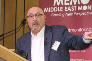 Prof Manuel Hassassian seen at Middle East Monitor's 'Jerusalem: Legalising the Occupation' conference in London, UK on 3 March, 2018 [Jehan Alfarra/Middle East Monitor]