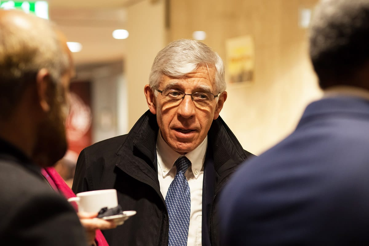 Jack Straw, UK former foreign minister, at MEMO's 'Saudi in Crisis' conference, on November 19, 2017 [Middle East Monitor]