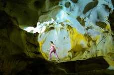 A girl tours the Karain Cave located 27 kilometers northwest of Antalya, Turkey on 27 February, 2018 [Mustafa Çiftçi/Anadolu Agency]