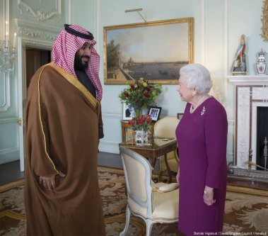 Crown Prince and Defense Minister of Saudi Arabia Mohammad bin Salman al-Saud (L) meets with Queen Elizabeth II (R) at Buckingham Palace during his official visit in London, United Kingdom on March 07, 2018. [Bandar Algaloud / Saudi Kingdom Council / Handout]