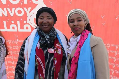 Rayne Rose Mandela-Perry (on the left) and Nodiyala Mandela (right), South Africa's anti-apartheid leader Nelson Mandela's daughter-in-law and granddaughter-in-law, poses for a photo during an exclusive interview in Ankara, Turkey on March 11, 2018. Two family members of South Africa's anti-apartheid leader Nelson Mandela have vowed to raise their voices for Syrian women imprisoned by the Bashar al-Assad regime. [Erdal Türkoğlu / Anadolu Agency]