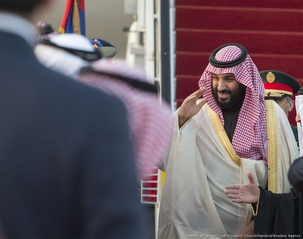 Crown Prince and Defense Minister of Saudi Arabia Mohammad bin Salman al Saud arrives at Cairo International Airport in Cairo Egypt on 4 March 2018