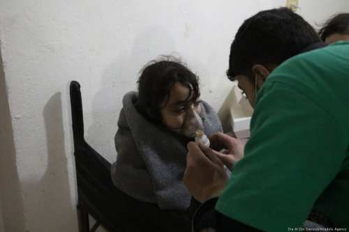 An affected child receive a medical treatment after Assad regime forces conduct allegedly poisonous gas attack on Sakba and Hammuriye districts of Eastern Ghouta, in Damascus, Syria on 7 March, 2018 [Dia Al Din Samout/Anadolu Agency]