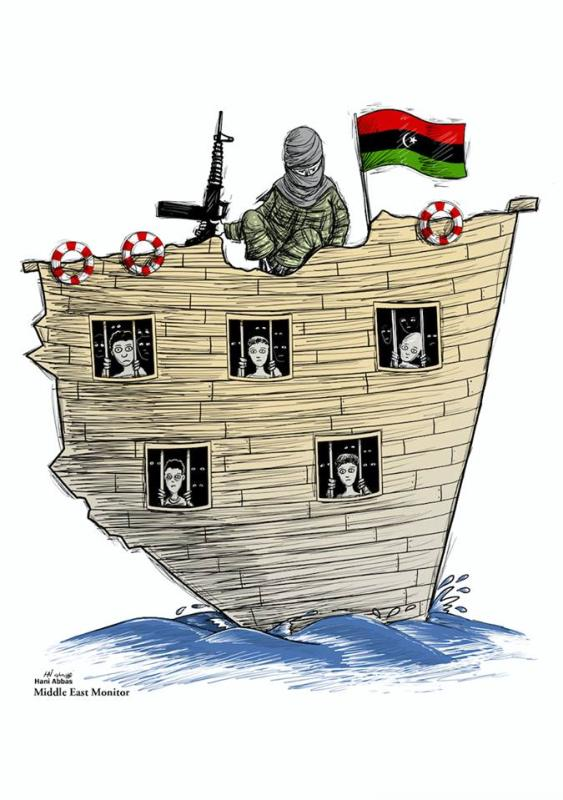 Up to 77% of migrants face abuse, exploitation and trafficking - Refugee crisis, Libya - Cartoon [Hani Abbas/MiddleEastMonitor]