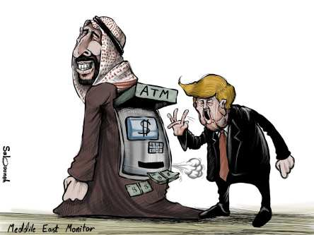 US President Donald Trump: Saudi-US relations 'strongest ever' - Cartoon [Sabaaneh/MiddleEastMonitor]