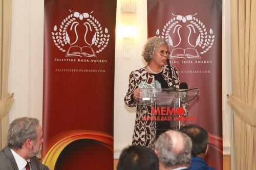 Haifa Zangana presents the Memoir Prize at the Palestine Book Awards on 24 November, 2017 [Middle East Monitor]
