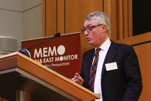 Simon Constable, at MEMO's 'Saudi in Crisis' conference, on November 19, 2017 [Middle East Monitor]