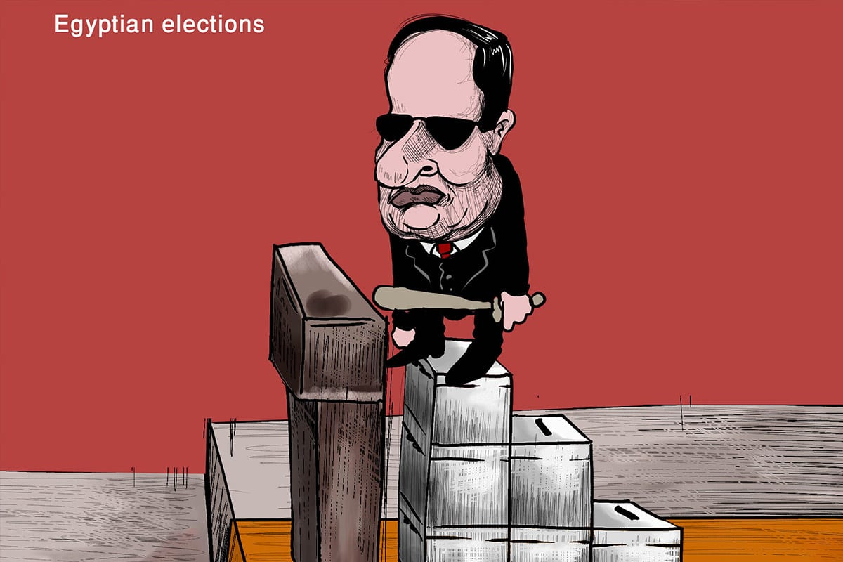 Egypt's Sisi warns opponents as calls to boycott election build - Cartoon [Sabaaneh/MiddleEastMonitor]