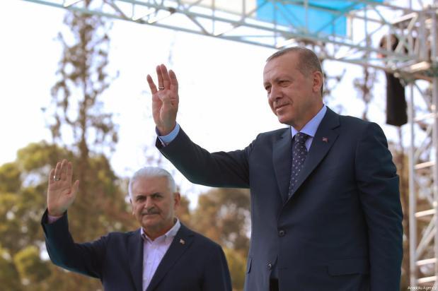 Turkeys erdogan starts campaigning for snap june elections middle turkish president recep tayyip erdogan r and turkish prime minister binali yildirim l m4hsunfo