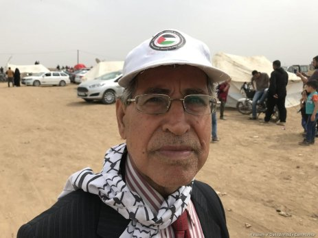 Asaad abu Sharekh during the Great March of Return in the Gaza Strip on April 2018 [Motasem A Dalloul/Middle East Monitor]