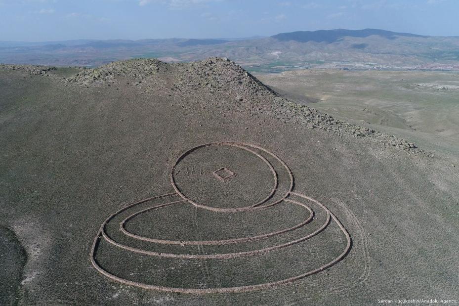 An aerial photograph shows Australian sculpture Andrew Rogers' land art work 'The Gift', in Cappadocia region, in Kayseri, Turkey on 20 April 2018 [Sercan Küçükşahin/Anadolu Agency]