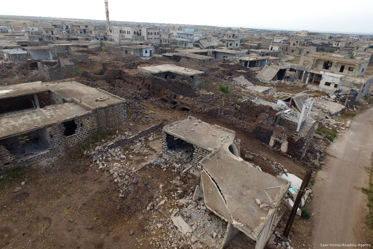 An aerial view of buildings in ruin after the Assad Regime carried out air strikes in Homs, Syria on 30 April 2018 [Saer Homsi/Anadolu Agency]